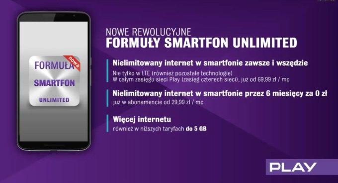 Zalety Formuły Smartfon Unlimited w sieci komórkowej Play