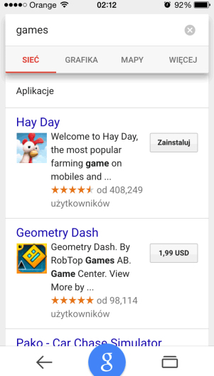 Linki do aplikacji mobilnych w wynikach wyszukiwania Google