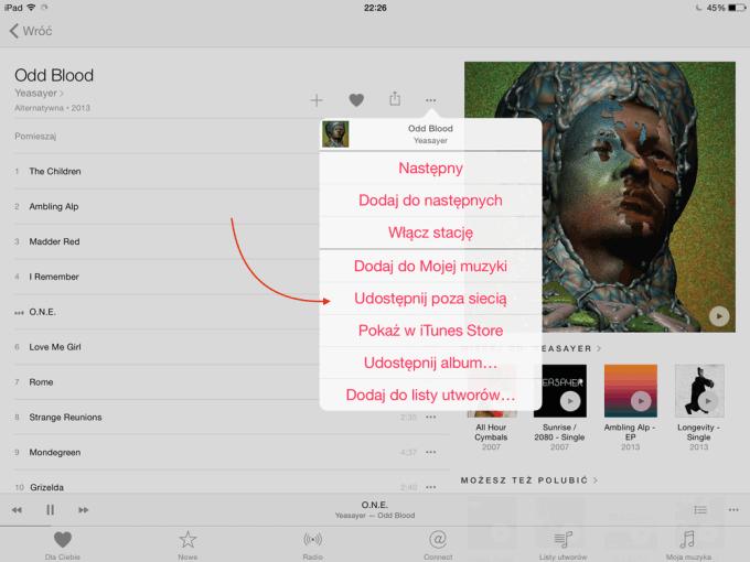Zapisywanie utworów w Apple Music do trybu offline
