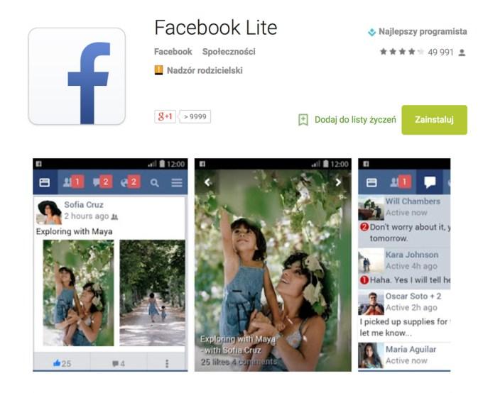 Facebook Lite w sklepie Google Play