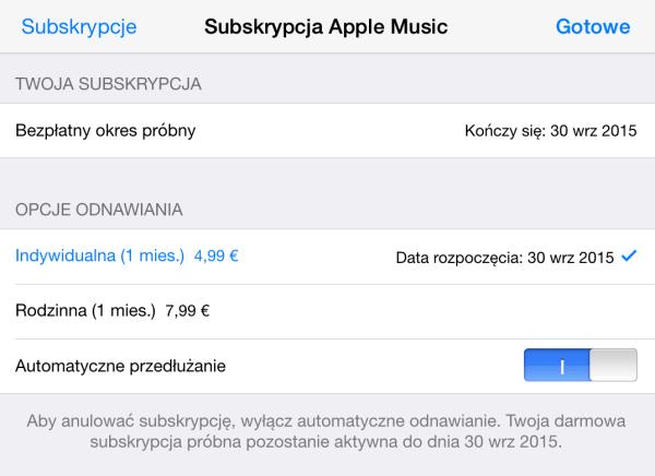 Jak wyłączyć automatyczne odnowienie subskrypcji Apple Music?