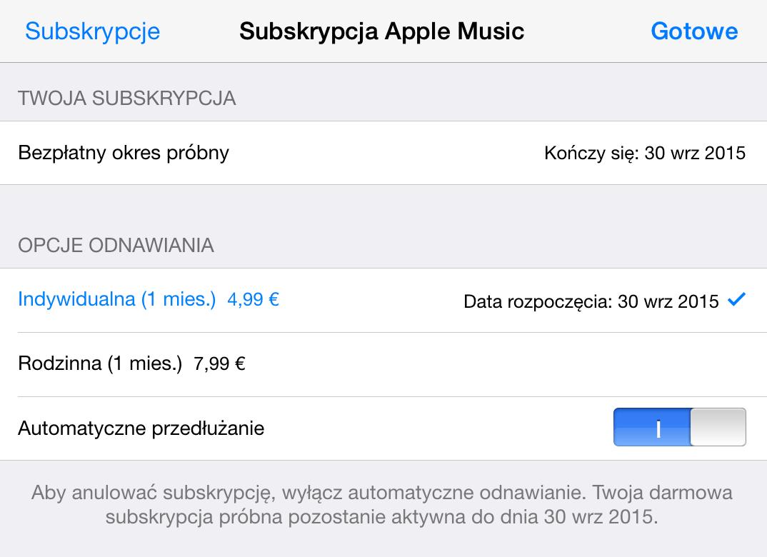 Automatyczne przedłużanie subskrypcji Apple Music