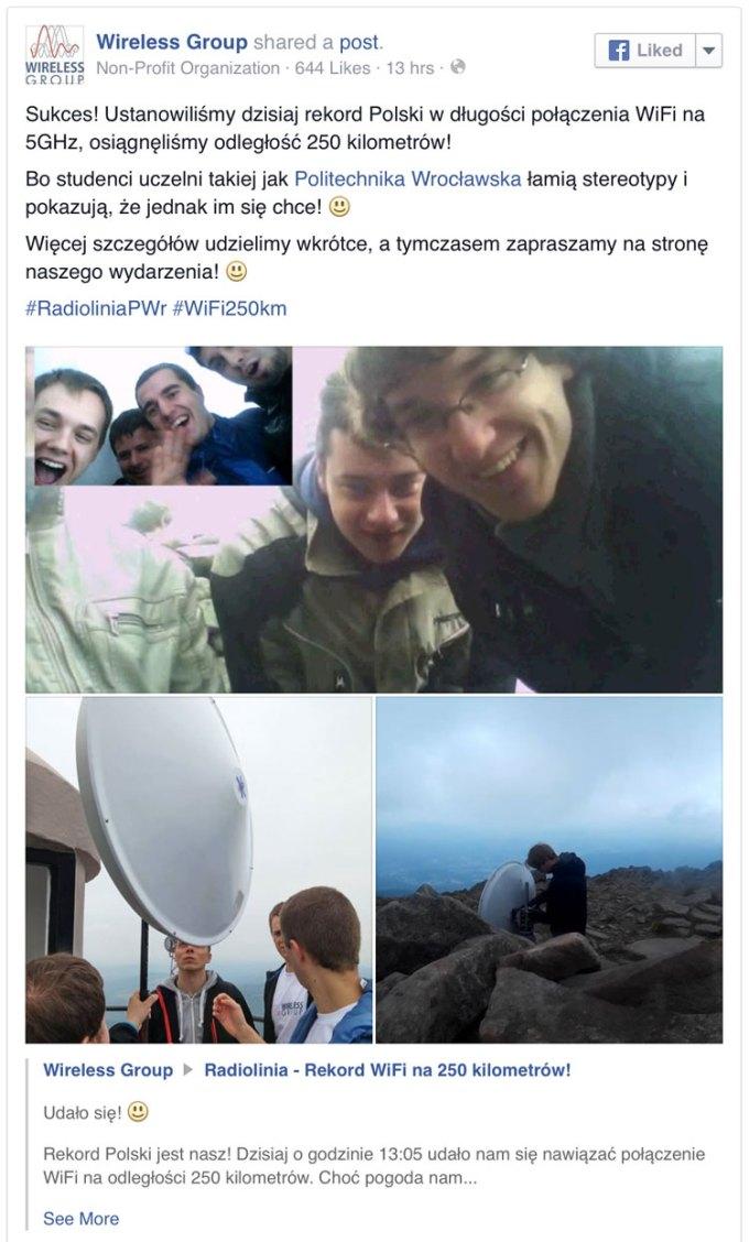 Wireless Group wpis na Facebooku