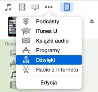 Wybór dźwięków w bibliotece iPhone'a