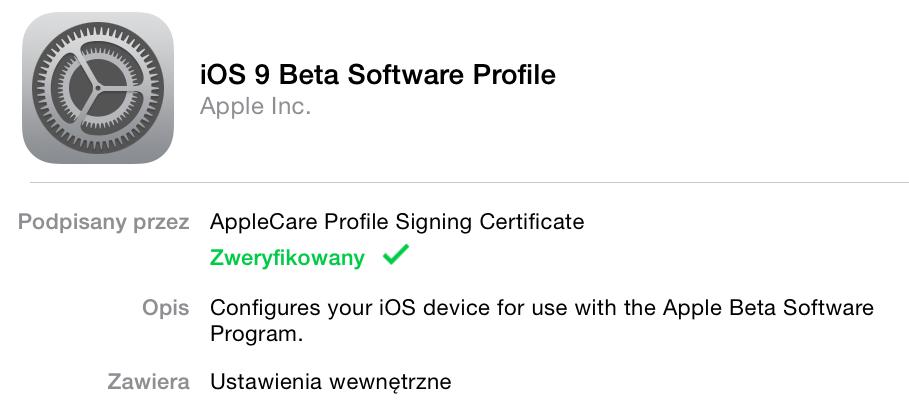 Profil iOS 9 Beta Apple'a
