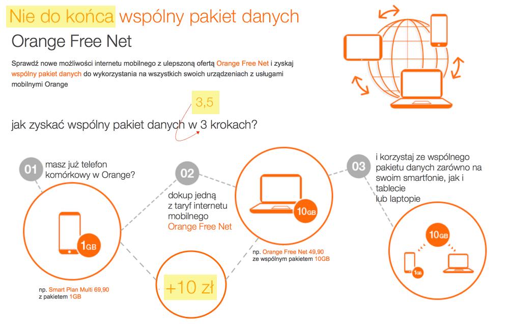 Nie do końca wspólny pakiet danych w Orange Free Net