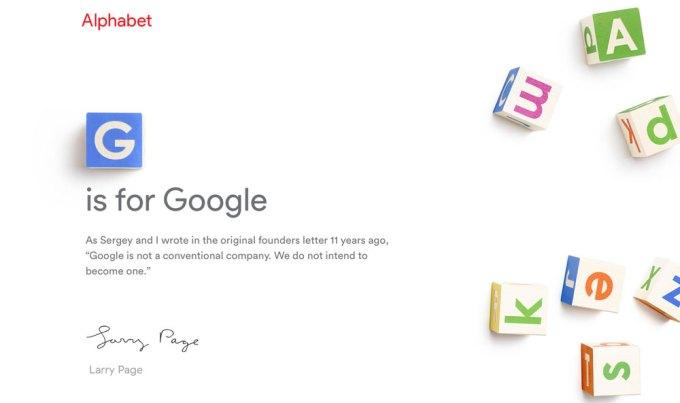 G jest dla Google, A jest dla Alphabet
