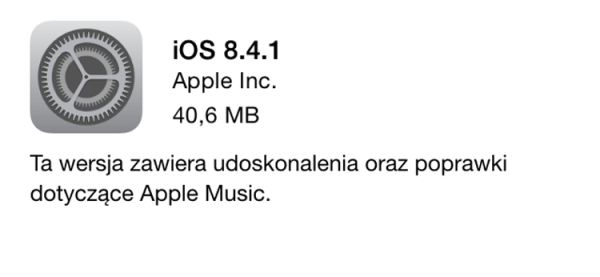 iOS 8.4.1 z poprawkami Apple Music