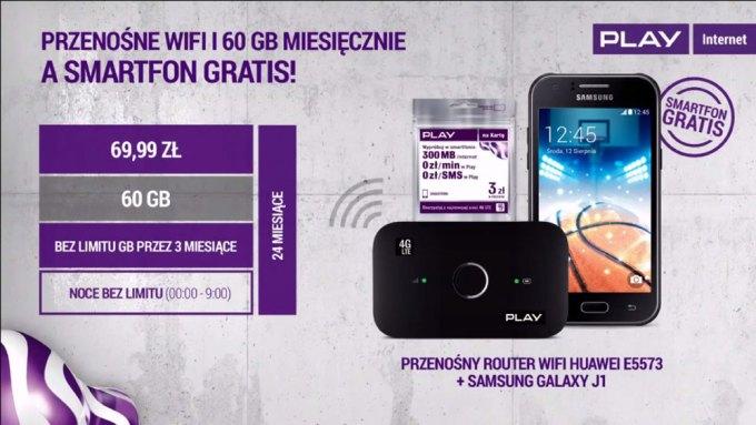 Zestaw promocyjny z internetem mobilnym, smartfonem i routerem Wi-Fi w sieci Play