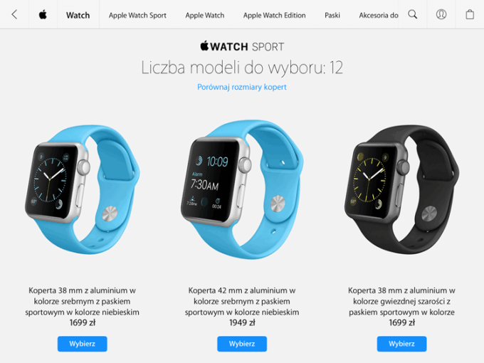 Ceny modelu Apple Watch Sport w Polsce