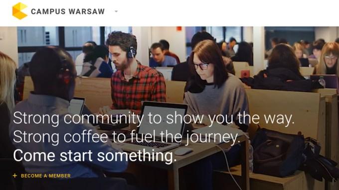 Google Campus Warsaw - strona internetowa