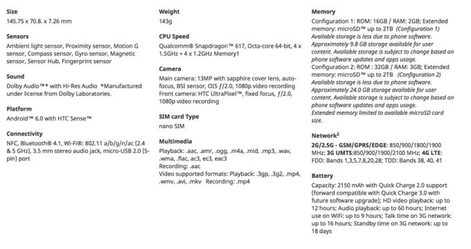 Specyfikacja HTC One A9