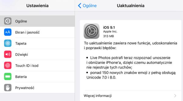 iOS 9.1 do pobrania w trybie OTA