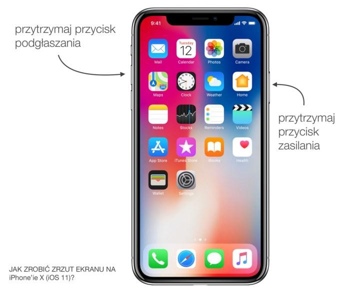 Jak zrobić zrzut ekranu (screena) na iPhone'ie X 9iOS 11)