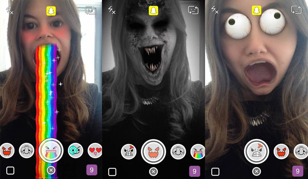animowane filtry Snapchat Lenses w aplikacji Snapchat - efekty