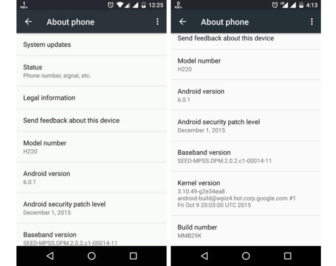 Android 6.0.1 Marshmallow na Android One - update screen