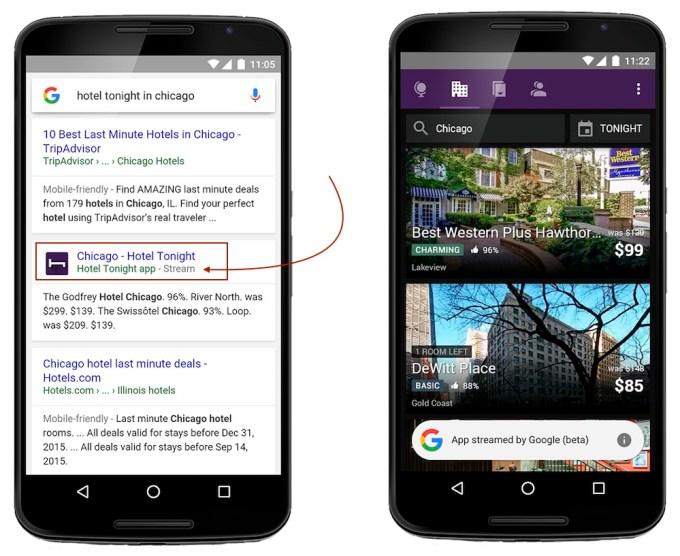 App streamed by Google (beta) screen