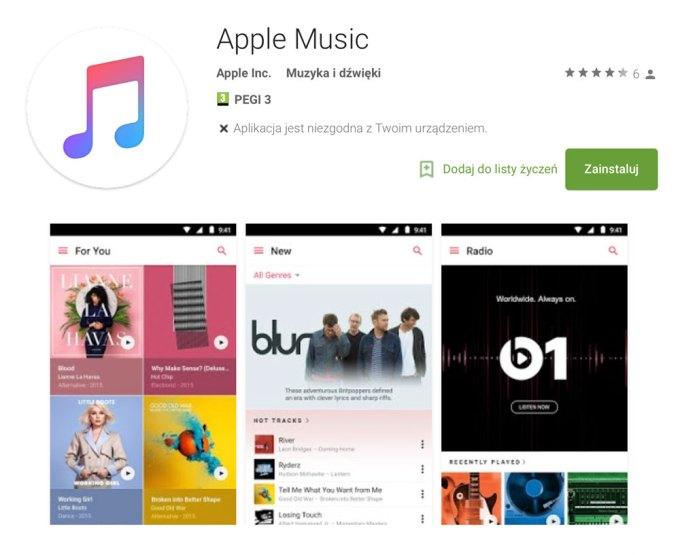 Aplikacja Apple Music na Androida w sklepie Google Play
