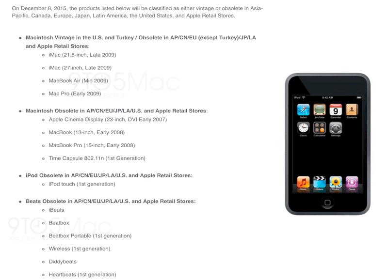 Produkty Apple'a, które nie będą naprawiane od 8 grudnia 2015 r. w autoryzowanych serwisach