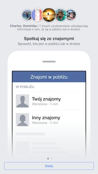Usługa Znajomi w pobliżu na Facebooku