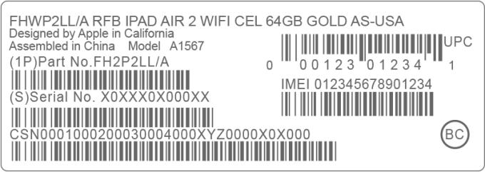 barcode z IMEI na opakowaniu urządzenia