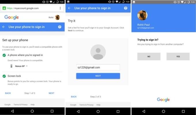 Logowanie do konta Google przy użyciu smartfona - screeny z aplikacji pod Androidem