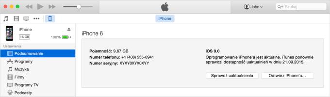 IMEI iPhone'a w iTunes