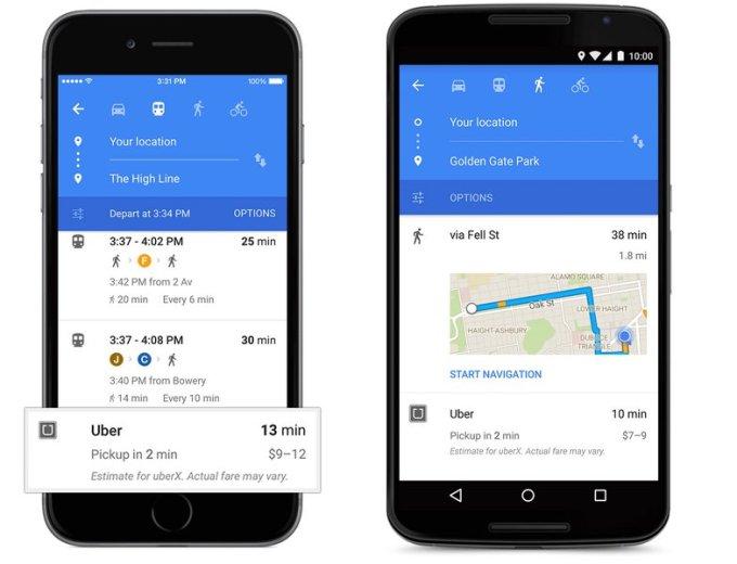 Uber w aplikacji Google Maps