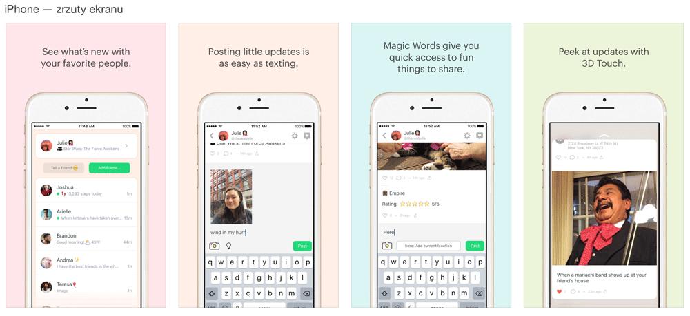 Zrzuty ekranu z aplikacji Peach na iPhone'a