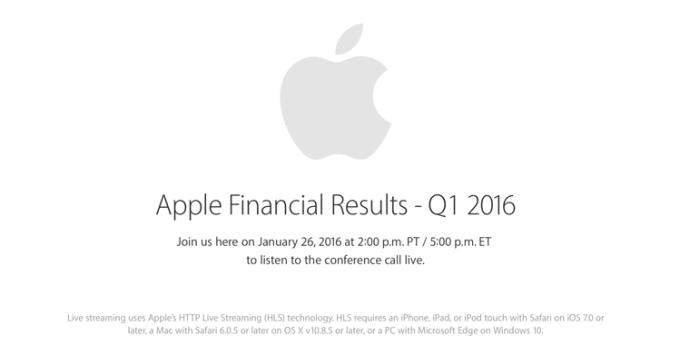 Wyniki finansowe Apple'a za 1 kwartał fiskalny 2016 roku na żywo