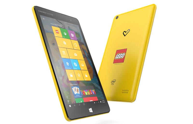 """Przód i tył tabletu z Windows 10 - Energy Tablet 8"""" LEGO Edition"""