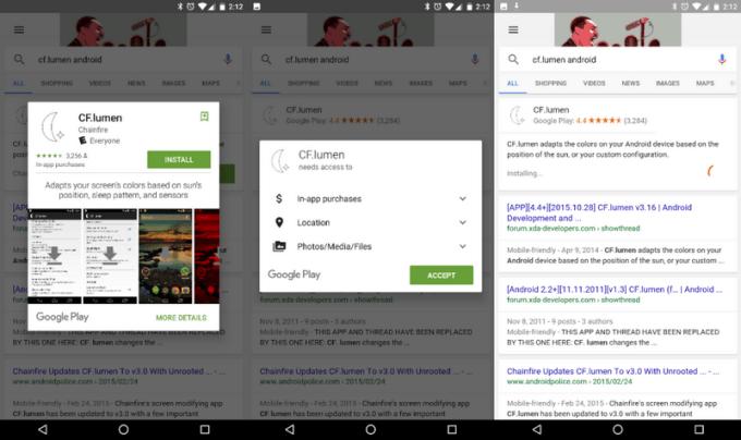 Instalacja aplikacji mobilnych bezpośrednio z wyników wyszukiwania w aplikacji Google na Androidzie (screen)