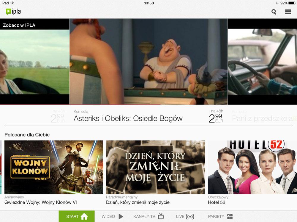 ipla - screen aplikacji mobilnej VOD na iPada