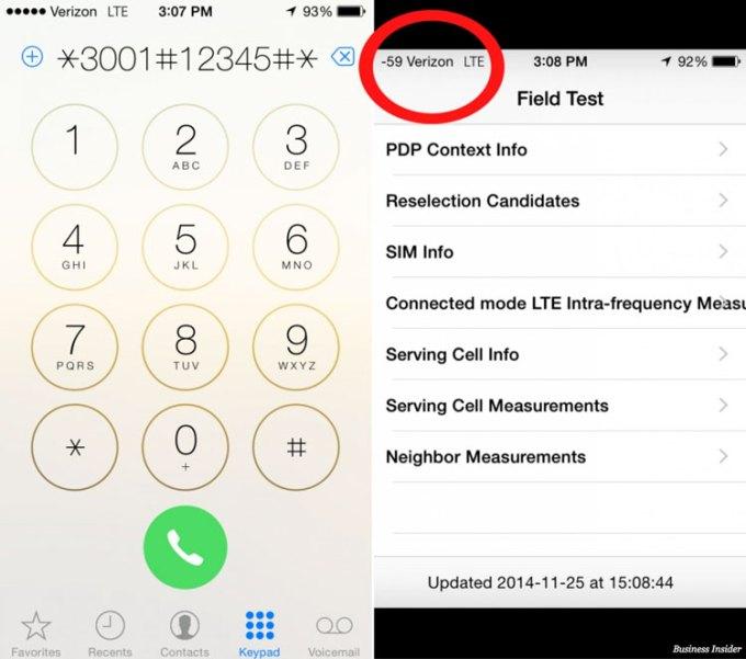 Siła sygnału komórkowego - wartość liczbowa - iPhone