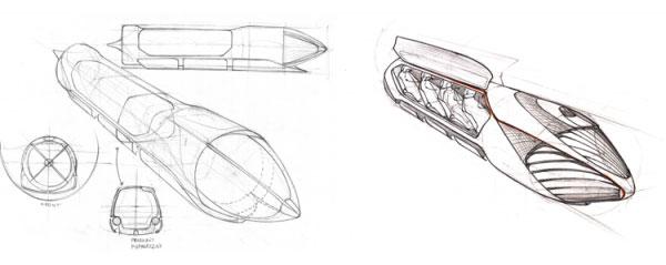 Szkic pojazdu Hyperloop Pod zaprojektowanego przez Hyper Poland