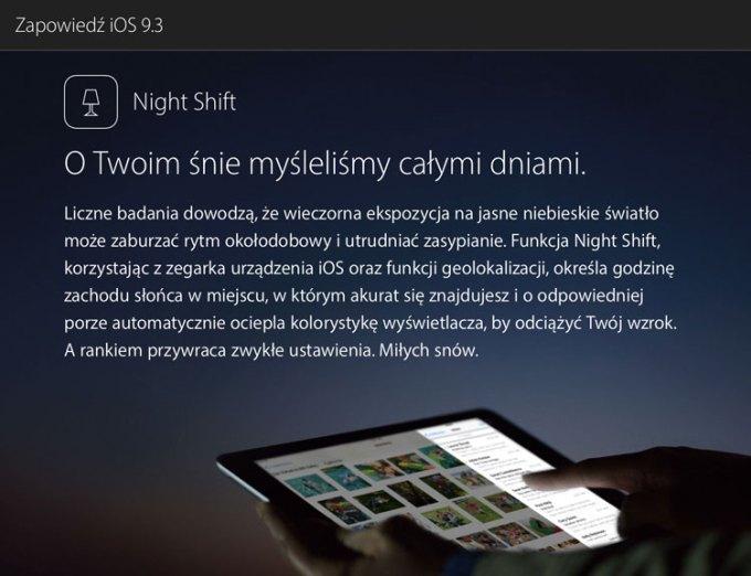 Zapowiedź systemu iOS 9.3 na polskich stronach internetowych Apple'a - opis trybu nocnego Night Shift