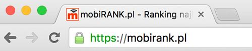 Ikona kłódki przy adresie URL serwisu https://mobirank.pl