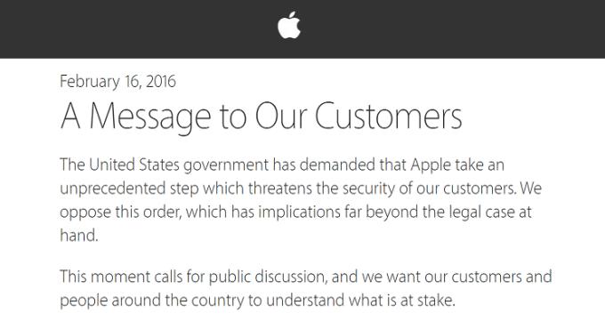 List otwarty Apple, w odpowiedzi na nakaz sądowy, aby złamać zabezpieczenia iPhone'a