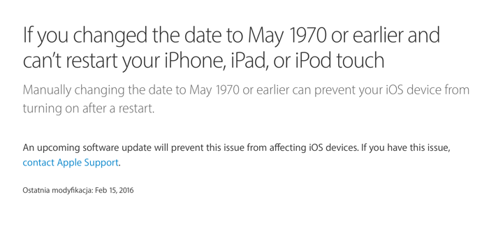 Informacja ze strony Apple, na temat błędu związanego z datą 1970
