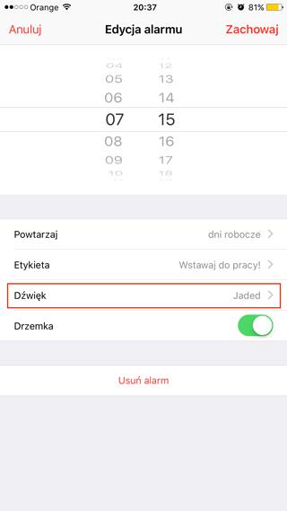 Ustawienie dźwięku budzika na iPhone'ie (iOS 9)