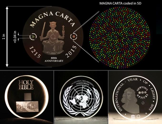 Magna Carta, Biblia Króla Jakuba i Optyka Newtona na nośniku 5D