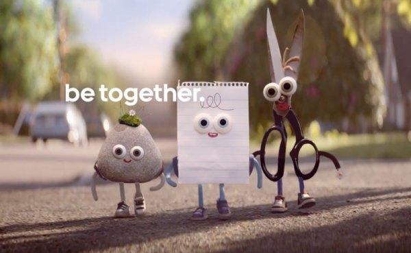 Kamień, Papier, Nożyczki w reklamie Androida