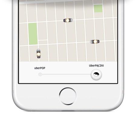 uberPĄCZKI w aplikacji mobilnej Uber