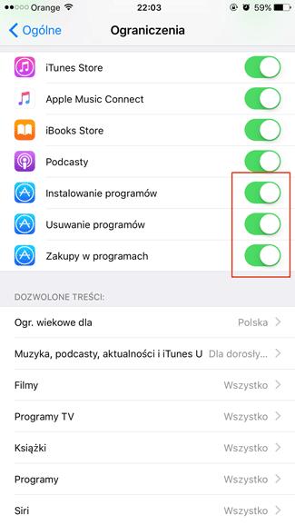 Ustawienia ograniczeń instalacii, usuwania i zakupów w aplikacjach mobilnych - iOS