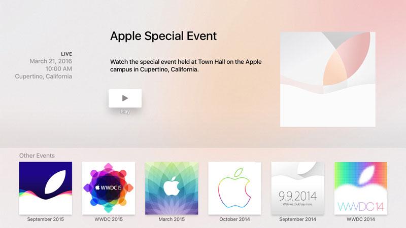 Aplikacja Apple Special Event na Apple TV (4. gen.)