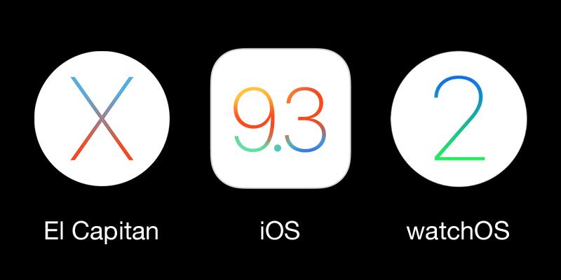 Apple OS X El Capitan, iOS 9.3, watchOS