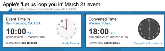 Apple Special Event 21.03.2016 godz. 10.00 czasu lokalnego i 18.00 czasu polskiego