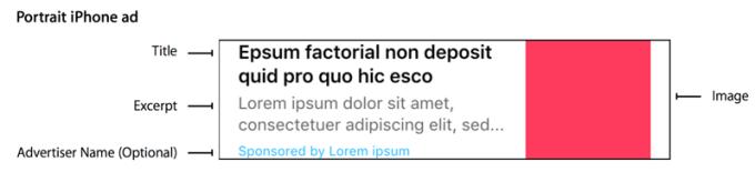 Tekstowa reklama natywna w aplikacji News.