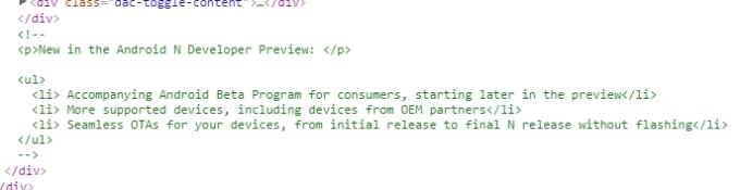 Fragment kodu systemu Android N
