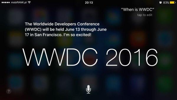Wiemy kiedy będzie WWDC 2016… od Siri